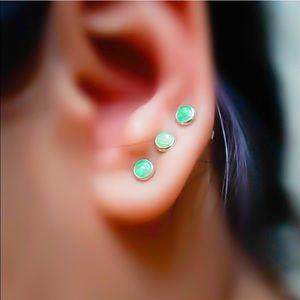 4mm Green Fire Opal Gemstone Stud Earrings
